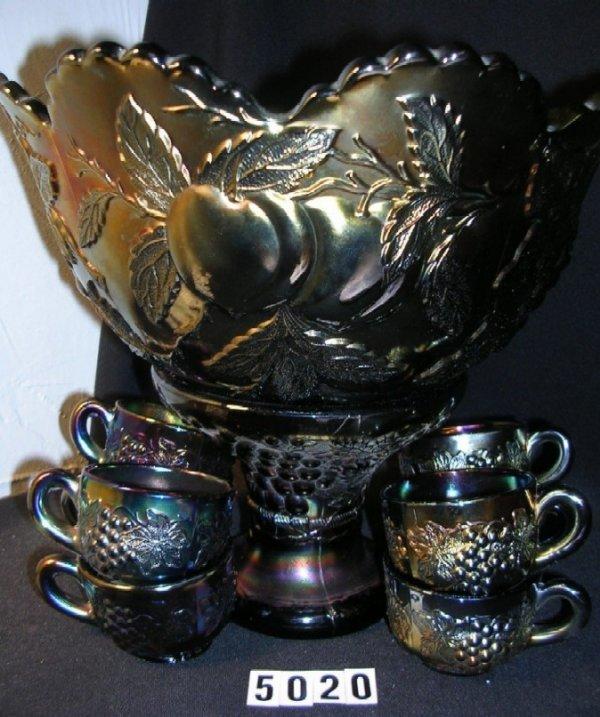 5020: Dugan Carnival Glass Many Fruits Punch Bowl