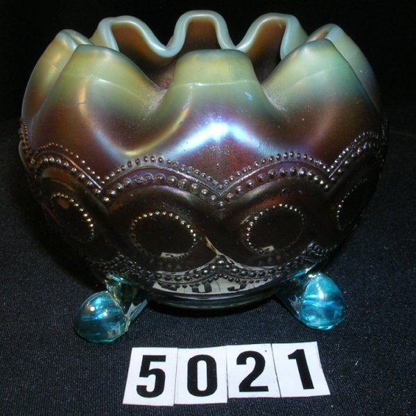 5021: Northwood Carnival Glass Beaded Cable Rose Bowl