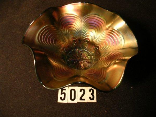 5023: Fenton Carnival Glass Peacock Tail Bowl RARE Adve