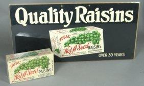 Vintage Ideal Raisins Store Litho Sign & Box