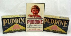2 Vintage Nos Boxes Puddine & Display Card