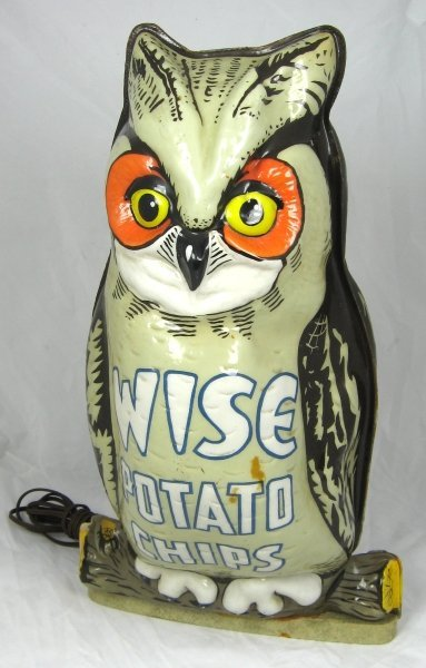 78: Vintage Wise Potato Chips Lighted Owl Display