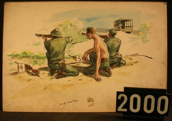 2000: Original Watercolor Fred Ray WWII Military