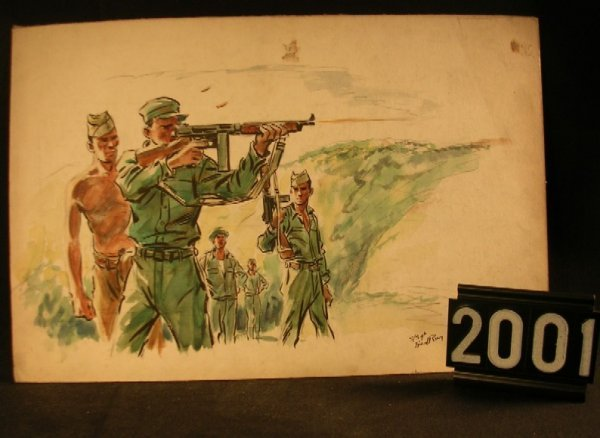 2001: Original Watercolor Fred Ray WWII Military