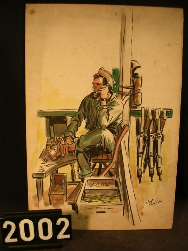 2002: Original Watercolor Fred Ray WWII Military