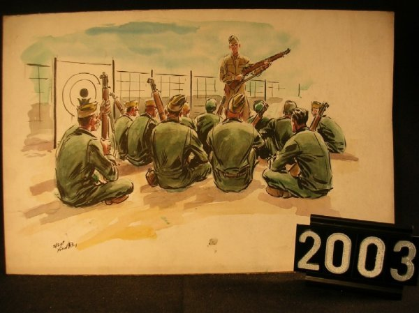 2003: Original Watercolor Fred Ray WWII Military