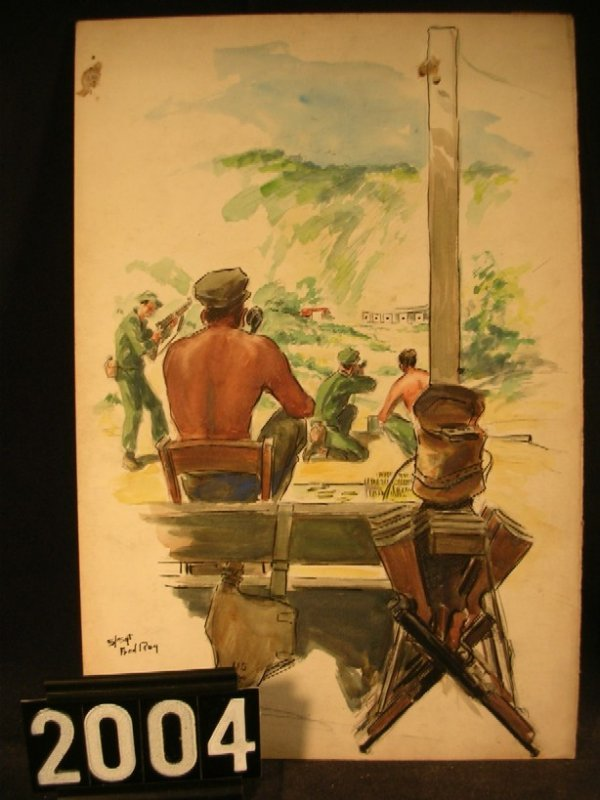 2004: Original Watercolor Fred Ray WWII Military