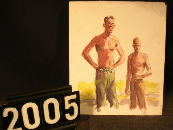 2005: Original Watercolor Fred Ray WWII Military
