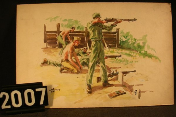 2007: Original Watercolor Fred Ray WWII Military