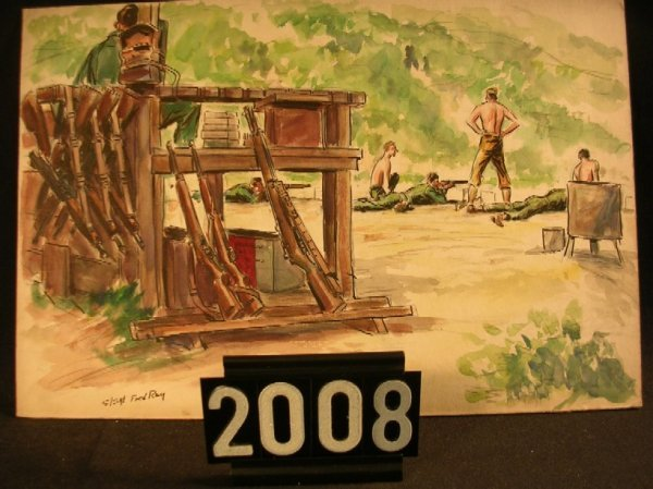 2008: Original Watercolor Fred Ray WWII Military