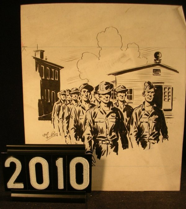 2010: Original Pen and Ink Fred Ray WWII Military