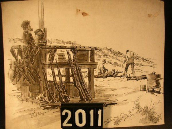 2011: Original Pen and Ink Fred Ray WWII Military