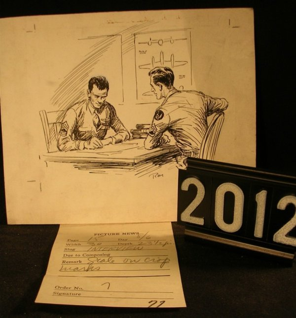 2012: Original Pen and Ink Fred Ray WWII Military