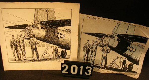 2013: Original Pen and Ink Fred Ray WWII Military