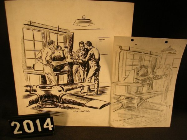 2014: Original Pen and Ink Fred Ray WWII Military