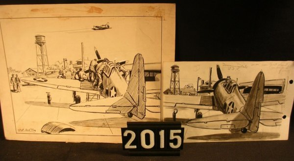 2015: Original Pen and Ink Fred Ray WWII Military