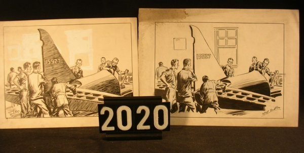 2020: Original Pen and Ink Fred Ray WWII Military