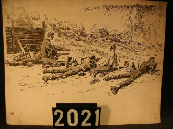 2021: Original Pen and Ink Fred Ray WWII Military