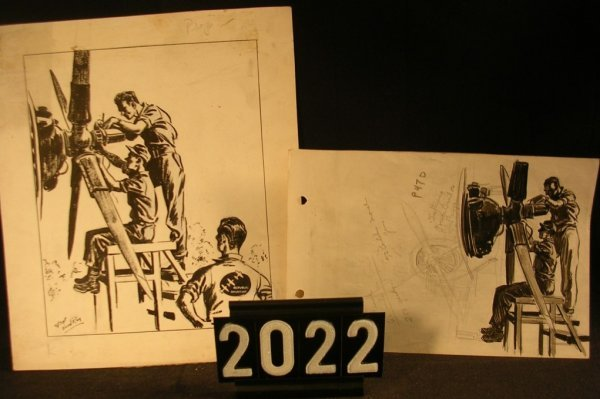 2022: Original Pen and Ink Fred Ray WWII Military