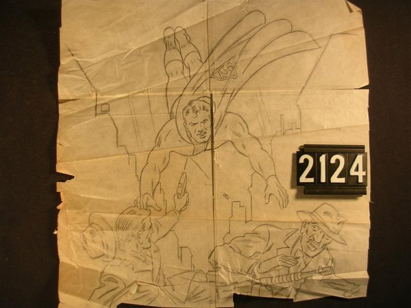 2124: Original Artist Pencil Sketch Superman Fred Ray