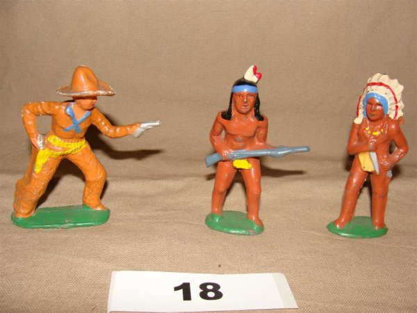 1018: Dimestore Cowboy and Indian Lot Barclay