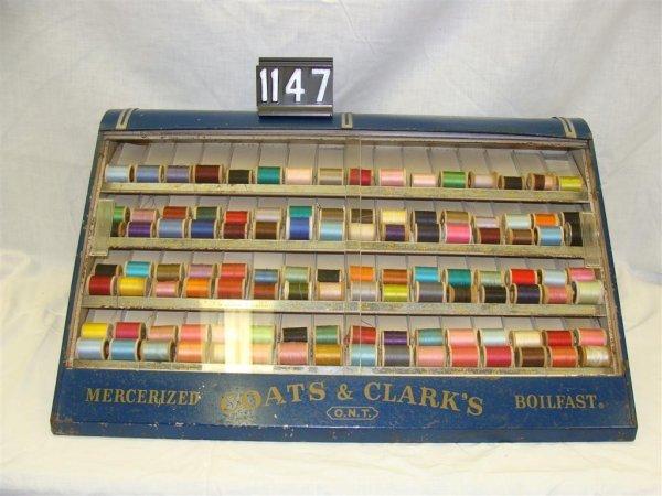 1147: Coats & Clark's Thread Display Cabinet, Antique