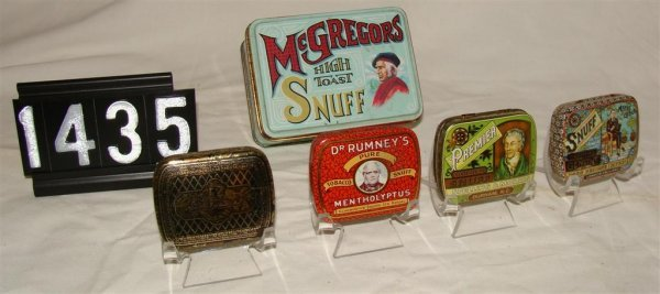 1435: (5) Snuff Tins: Gold, Dr. Rummy