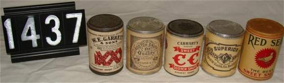 1437: (5) Snuff Tins: Scotch, Superior, Red Seal