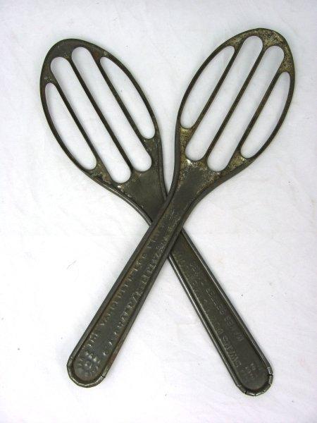 8: 2 Vintage Tin Slotted Spoon Wisks Vandeusen