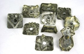 10 19th Cent. PA Soldered Tin Shapes Cookie Cutters