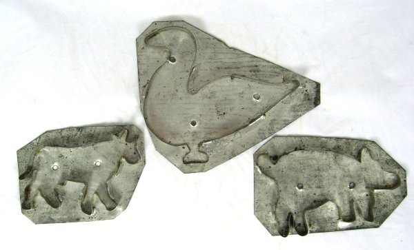 33: 3 19th Cent PA Tin Cookie Cutters Animals