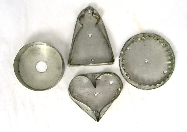 34: 4 19th Cent PA Tin Cookie Cutters Heart Angel