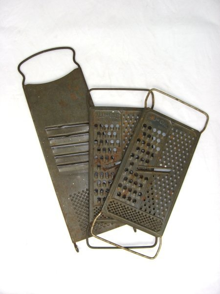 37: 3 Early 1900's Tin Food Graters