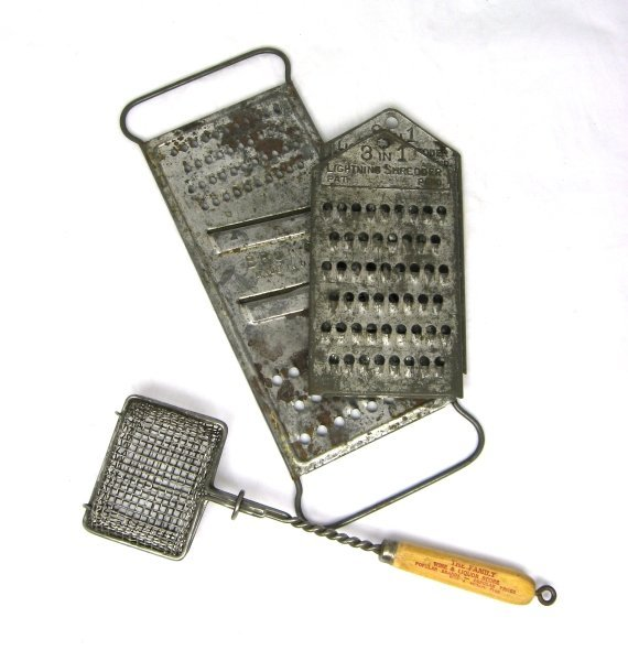 38: 3 Early Tin Food Graters & Soap Saver