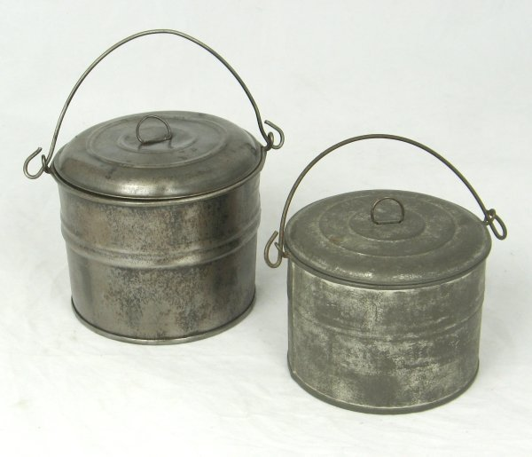 48: 2 Early 1900's Pressed Tin Small Lunch Pails