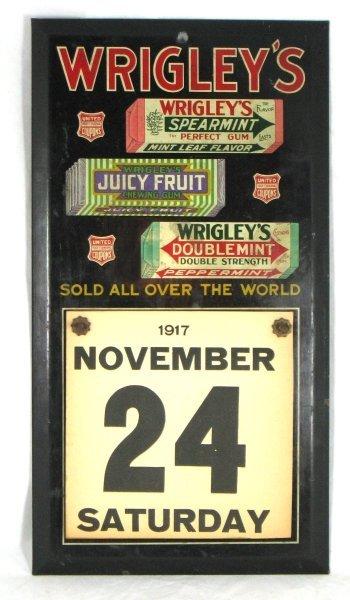 434: 1917 Tin Litho Wrigley's Gum Store Calendar