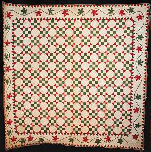 1850s APPLIQUED QUILT SAWTOOTH AND MAPLE LEAF BORDER