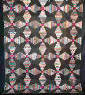 ANTIQUE QUILT PINEAPPLE WINDMILL BLADES LOG CABIN,1860s