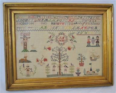 ANTIQUE FOLK ART SAMPLER WITH ADAM & EVE 1850