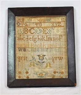 FINELY WORKED SCHOOL GIRL FRAMED SAMPLER, 1806