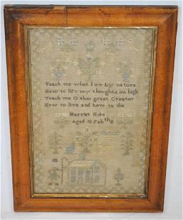 ANTIQUE FOLK ART SCHOOL GIRL EMBROIDERED SAMPLER 1800s