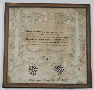 WROUGHT BY MARY ANN EVELETH SAMPLER, DATED 1821