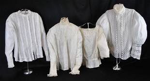 FOUR LINEN, COTTON AND SILK FANCY BLOUSES,1890 TO 1900