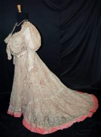 PARIS SILK & LACE GOWN, LABEL MME LEVILION 1890s