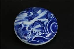 A QING QIANLONG BLUE AND WHITE CERAMIC BOX