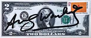 2 Dollar Bill by Andy Warhol signed in black acrylic