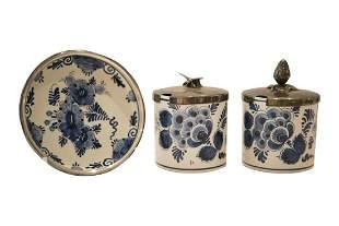 "6 saucers "" Delft Regina"" and two jam jars | 6"