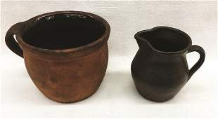 Two Redware Pieces: Handled Crock and Creamer Crock: 4""