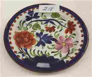 "Gaudy Dutch Double Rose Cup Plate 4.375"" Dia."