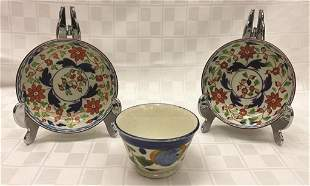 Three Piece Gaudy Dutch: Two Saucers & Cup Saucers: 5""